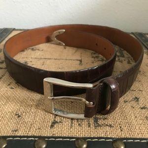 Brown Leather Textured Belt Sz 32